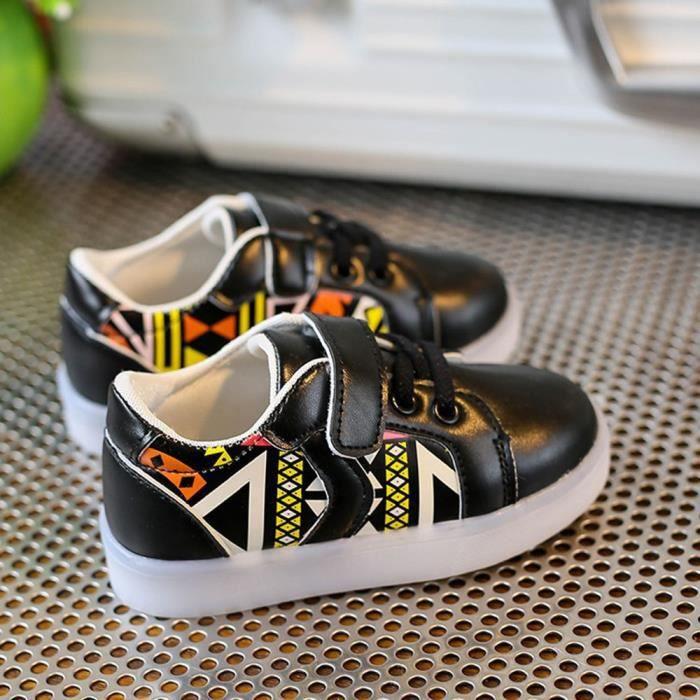 Les espadrilles de mode de bébé ont mené l'enfant lumineux les chaussures légères colorées occasionnelles Noir 3PEU8utUM