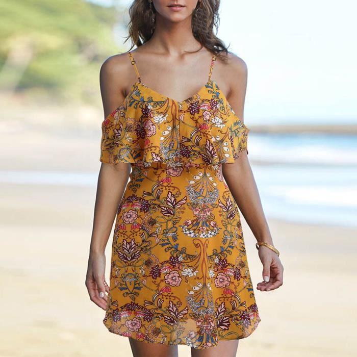 Napoulen®Mode femmes dames hors épaule imprimé longueur genou robe de soirée lâche Jaune XXP71213294