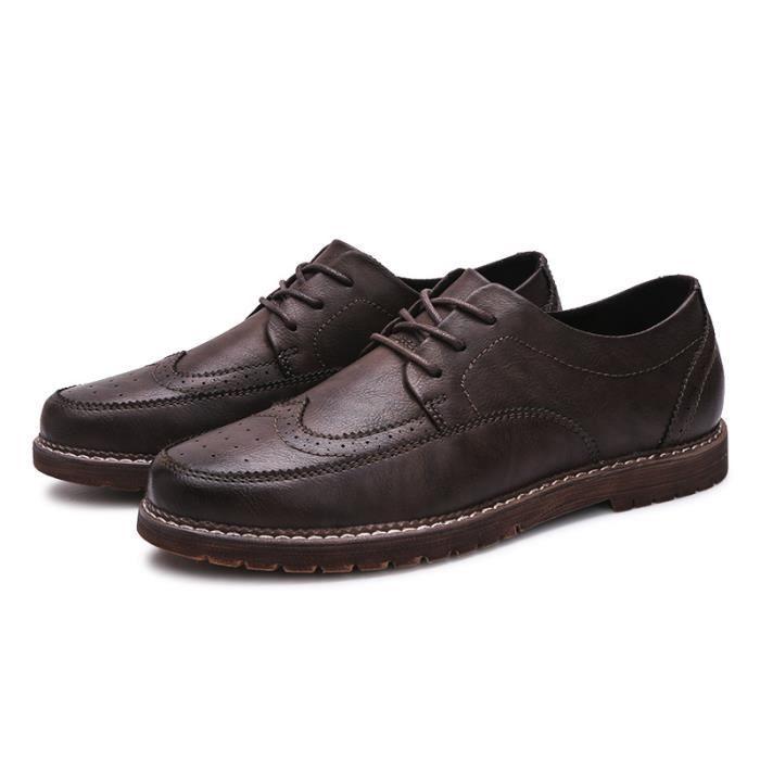 JOZSI Chaussures Hommes Cuir Qualité Supérieure Respirant Homme chaussure de ville ZX-XZ204Marron38
