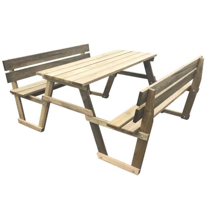 Table de jardin Table de pique-nique avec 2 bancs Bois de pin ...