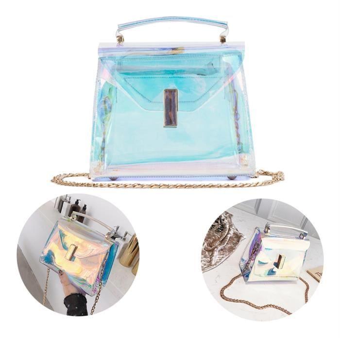 Shining style Holographique Avec Body Bag Bandoulière Mesdames Transparent Chaînes 1 Main Sac À Cross Wx6FUYZ7qw