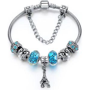 BRACELET - GOURMETTE Bracelet de Type Pandora en Argent Tibétain et Per