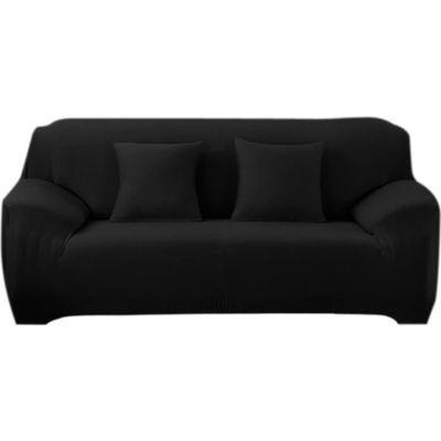 housse de canapé 3 places noir uni avec accoudoir extensible clic