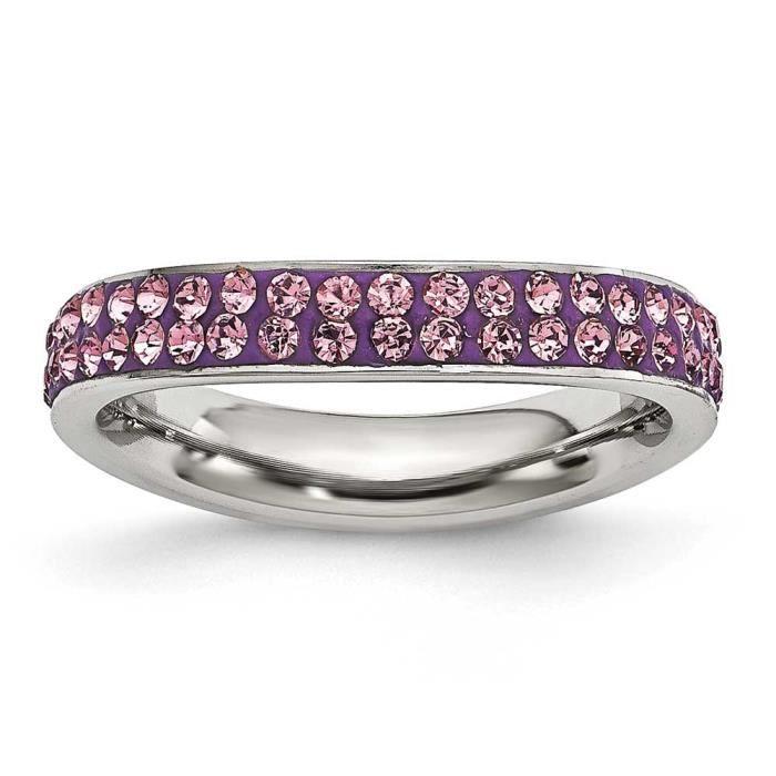 Acier inoxydable 4 mm Cristal Violet Clair poli vague N-Taille 1/2–JewelryWeb