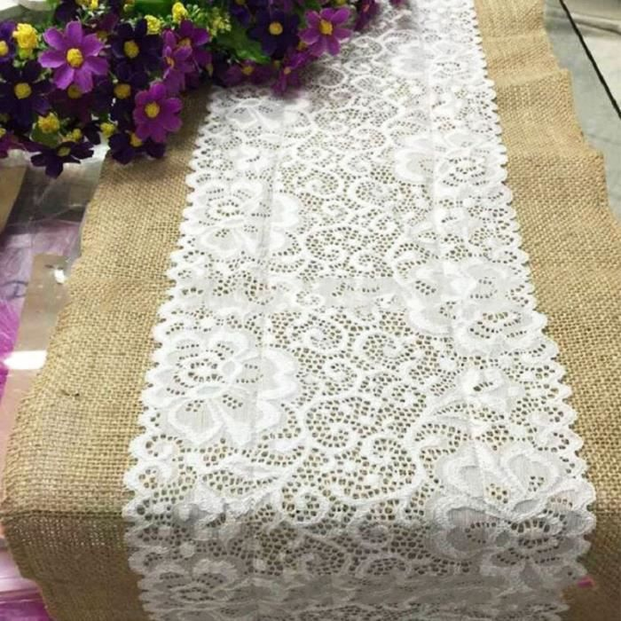 1x30x180cm nappe chemin de table rectangulaire ruban dentelle d cor d coration mariage blanc. Black Bedroom Furniture Sets. Home Design Ideas