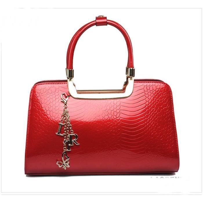 8d78ac34ec Laorentou sac à main rouge en cuir vernis - Achat / Vente Laorentou ...