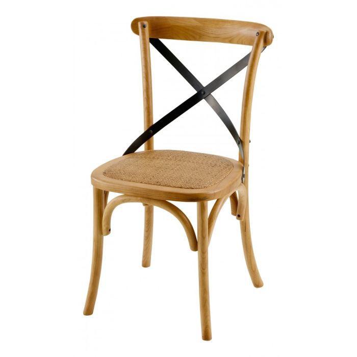 chaises bistrot naturelle croisillon noir lot achat. Black Bedroom Furniture Sets. Home Design Ideas