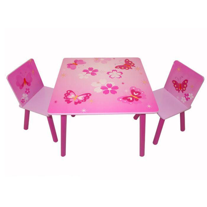 Table Et Chaise Petite Fille table et chaise enfant papillon - achat / vente table et chaise