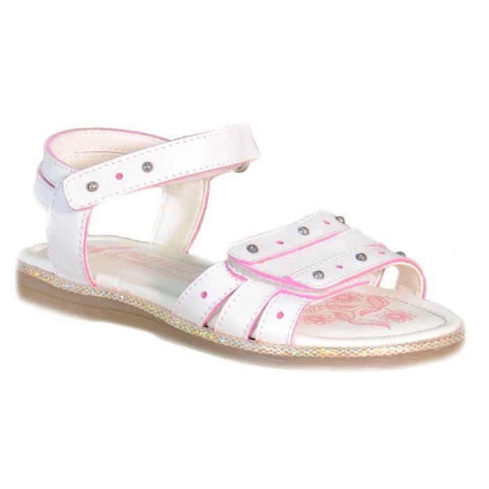 Primigi Sandales pour Fille Blanc Cuir Boucle 82150