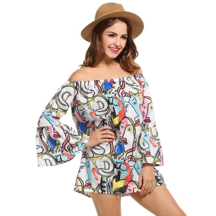 Mini robe Femme au large de l'épaule Ruffle manches impression occasionnel lâche à fleurs