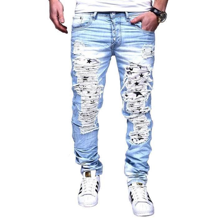 Jeans Homme Slim Déchiré Jeans 1118 Bleu