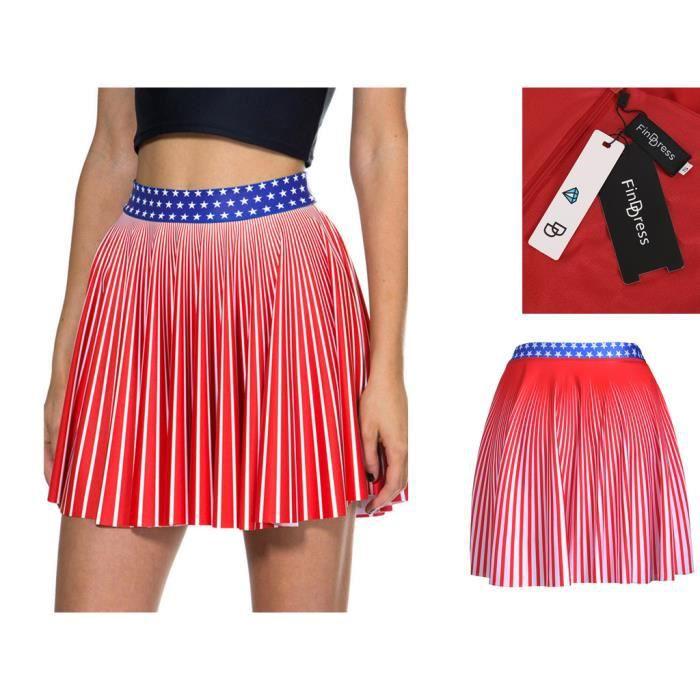303908d67bb FindDress Jupe Courte Evasée Femme Sexy Jupe Elastique Imprimée été Femme  Chic Jupe Rouge pour des Vacances Robe de Plage 3 Size