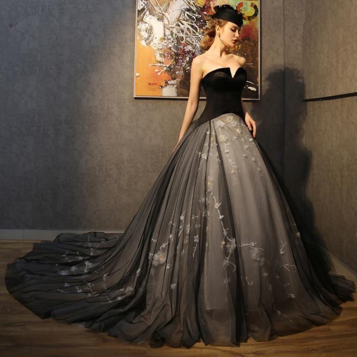 7c06138d4e5 Robes de Mariée Mariage Princesse Noir Epaules Dénudées Décoration Florale  Rétro Taille Grossesse