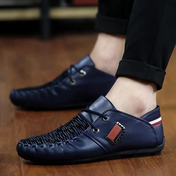 Mode Hommes Mocassins Noir - Blanc - Bleu Chaussures en cuir Man Casual Loisirs Hommes Flats,bleu,7,4833_4833