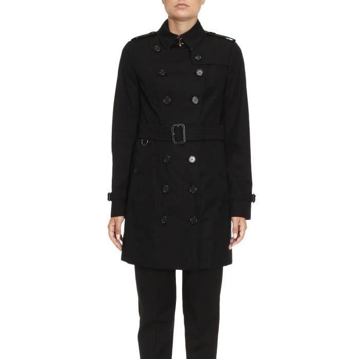 BURBERRY FEMME 3900453 NOIR COTON TRENCH COAT Noir Noir - Achat ... 42d9955f3c6