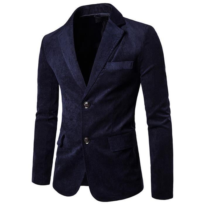 Loisirs Homme Velours Costume Un Veste Bleu Achat Mode xBdreWoC