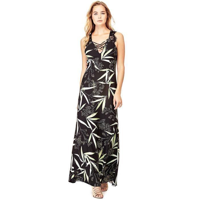66c1aeb0258 Guess Robe Longue Femme Encolure Lacets Lana Noir-Multicolore Noir ...