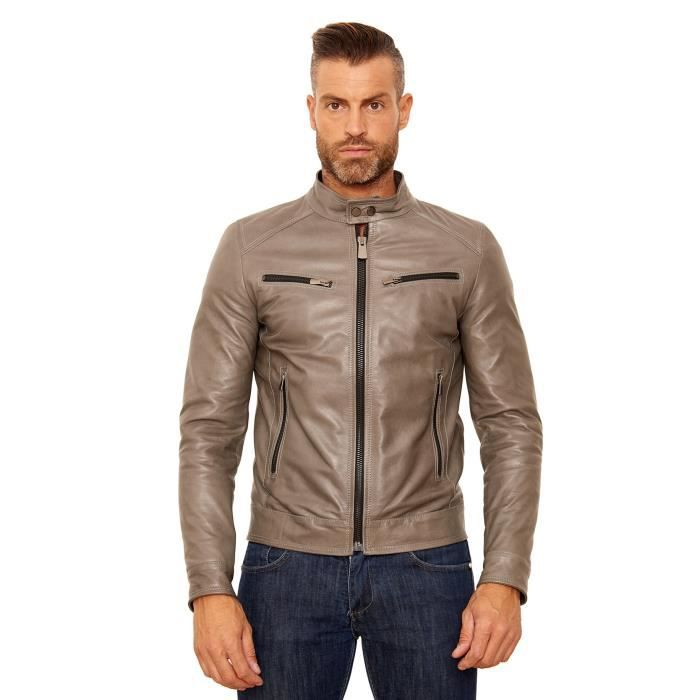 HAMILTON • couleur gris • blouson cuir homme style motard cuir d ... b047e507cf3d