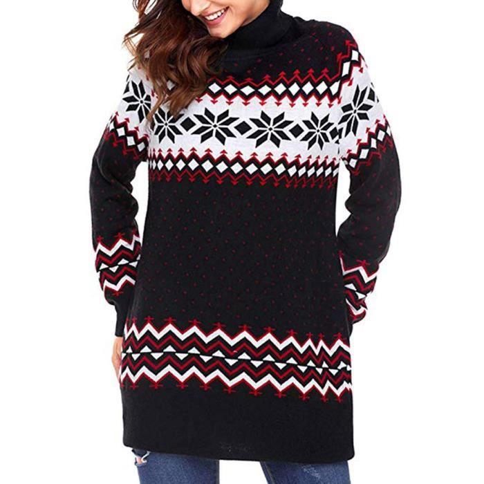 4cacbe189eb Femmes Robe Pull de Noël laides flocon de neige Joyeux Noël Mini robe  Noir
