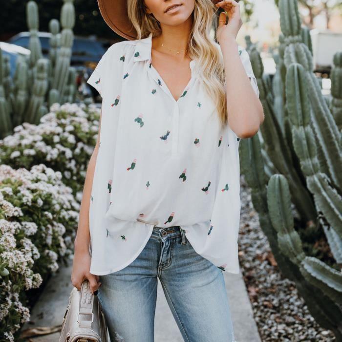 À shirt T Cactus Col Manches Courtes Casual Imprimé Femmes Tops Mesdames Chemisier En Blanc V WSwXYgW8Tq