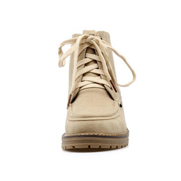 en hiver bottine Femme l'automne pour simili lacets boot à martin chaussure cuir YPRwqnOSR