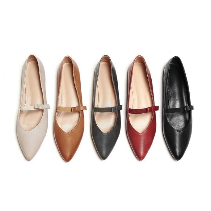 Femme cuir femmes Pointu Chaussures douce arc Flats Mocassins Glissement Women & # 39; s Chaussures plates,beige,36