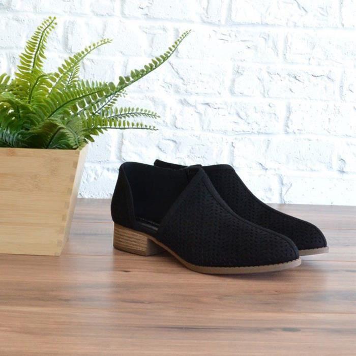 Vider Short Pointu Chaussures Femmes Mode Bottes Exquisgift Cheville Noir Martin Flock PC8wg