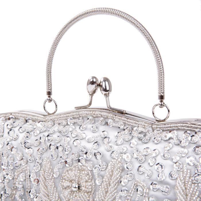 Vintage perles Sequin Conception bourse dembrayage pour sac de soirée WR54W