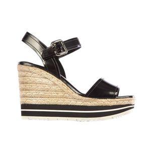 SANDALE - NU-PIEDS Zeppe sandales femme en cuir corda Prada