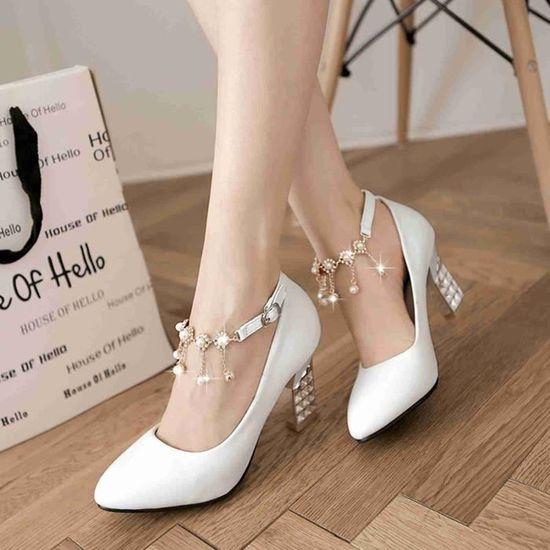 Chaussure Femmes Mode élégante Solide Mariage  Blanc - Achat / Vente escarpin