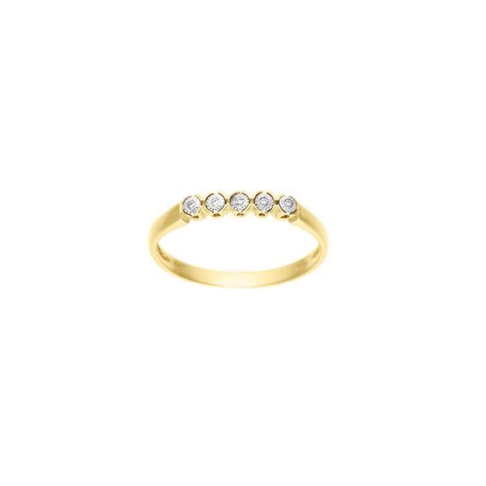 DIAMOND LANE Bague Or Jaune 375° et Diamants Femme