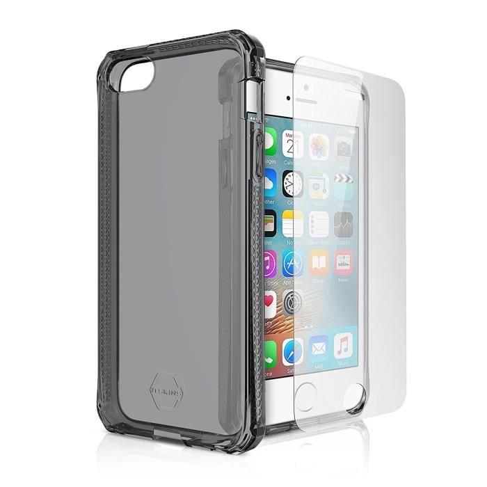 IT SKINS Spectrum Coque arrière + Verre trempé pour iPhone 5 / 5s / 5sE - Noir