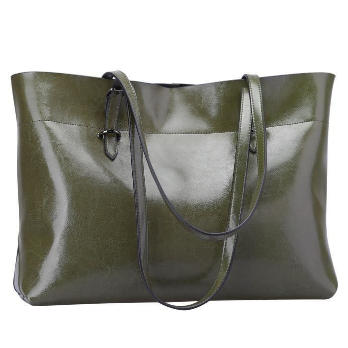 Fourre-tout en cuir véritable vintage sac à main Version améliorée BQJYK
