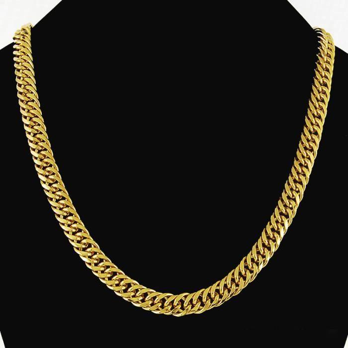 10 mm chaîne en or Collier Hommes Bijoux plaqué or 18k Double Collier  chaîne Curb Link pour hommes a095ab63195