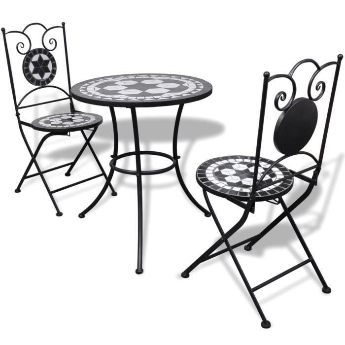 Set table ronde 60 cm mosaïque + 2 chaises Noir / blanc - - Achat ...