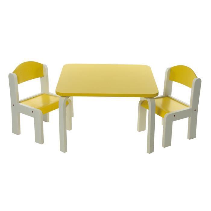 Table Et Chaise Pour Bébé : ensemble table et chaises enfant jaune en bois fabio momo for kids achat vente table et ~ Nature-et-papiers.com Idées de Décoration