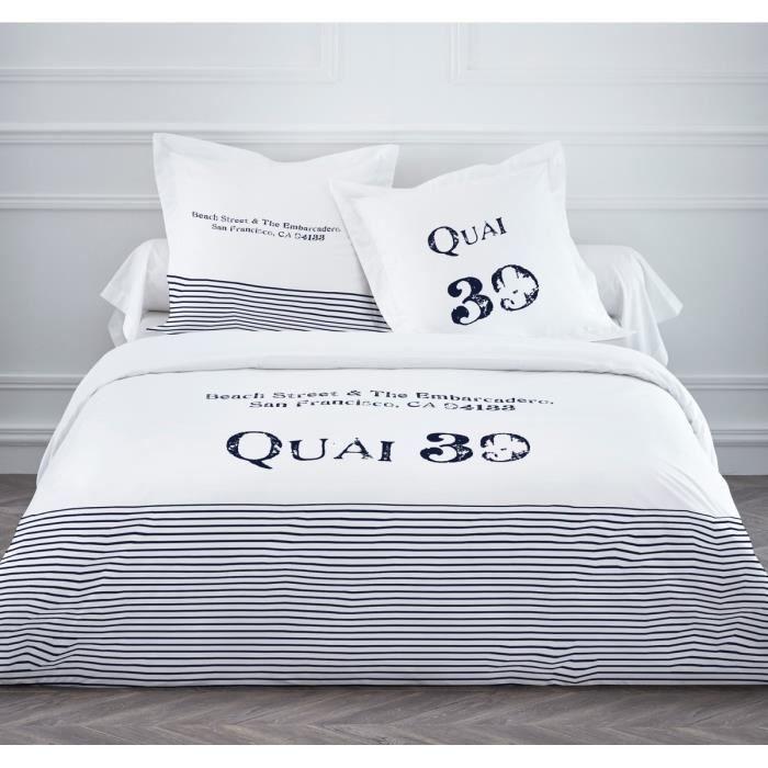 today parure de couette quai 39 1 housse de couette 220x240 cm 2 taies d 39 oreillers 63x63 cm. Black Bedroom Furniture Sets. Home Design Ideas