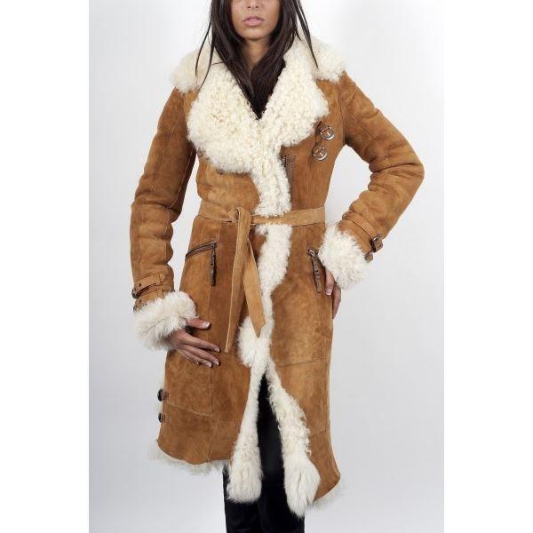 Manteau peau retournee femme noir