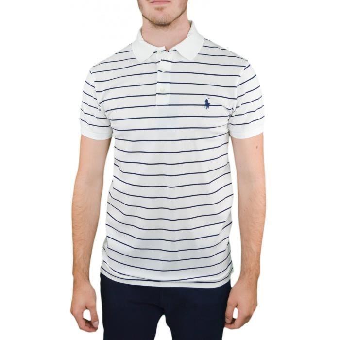 67b3b3274928e5 Polo Ralph Lauren rayé blanc et bleu marine pour homme - Couleur  Blanc -  Taille  XXL