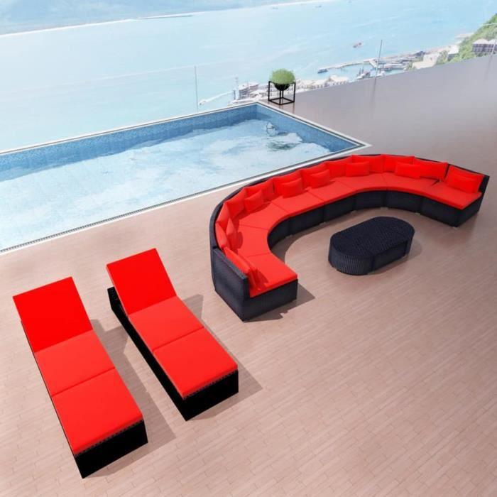 Mobilier de jardin avec chaises table basse carrée longues Rouge Résine  tressée