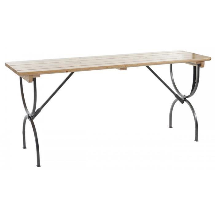 Table de jardin en bois et métal coloris naturel - Dim : H 81 x P 60 x L  180 - 150 cm