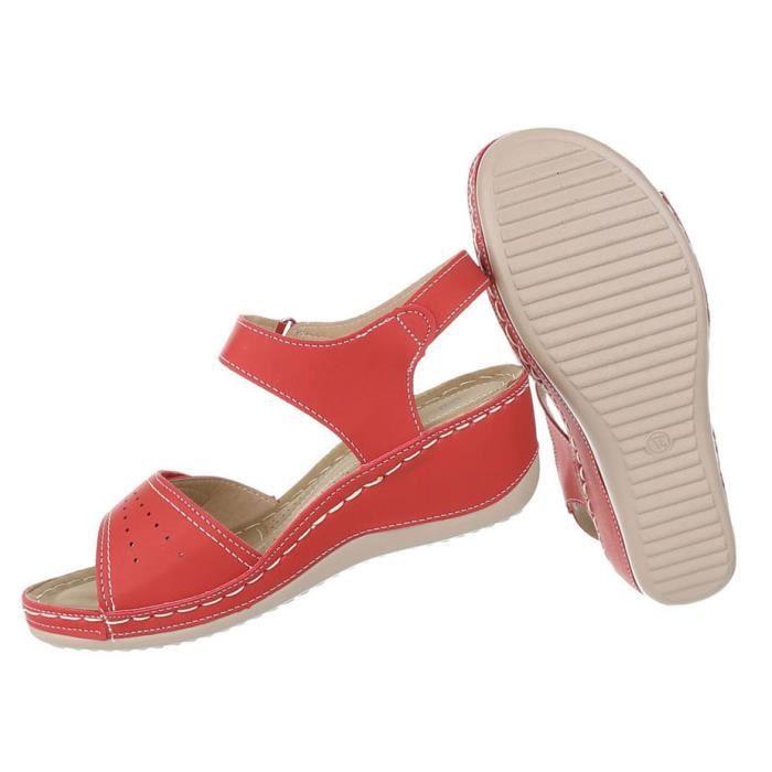Femme sandales chaussures High Heels semelle compensée escarpin rouge 40