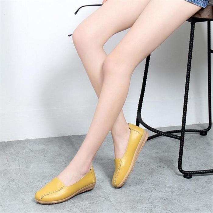 Mocassin Femmes Talon plat Leger Chaussure JXG-XZ049Jaune41 QwiiCBM6u