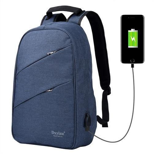 Canvas Laptop Backpack pour hommes et femmes, Fits 14  Ordinateur portable, Bleu