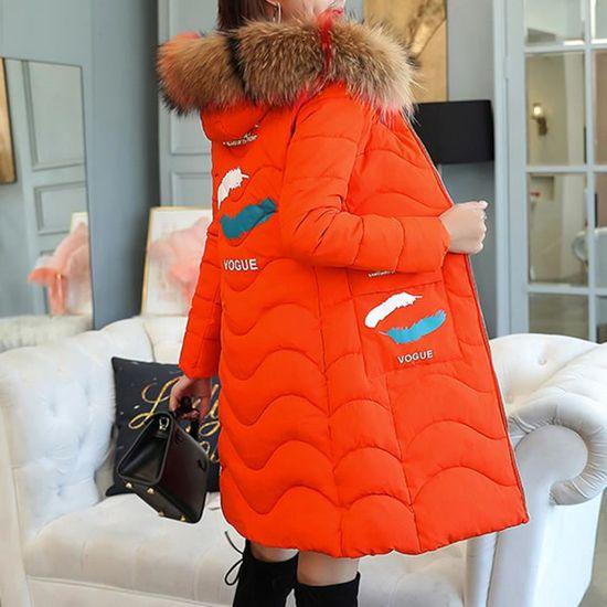 Longue Outwear Capuchon De Col Coton Fourrure À Parka Rouge Femmes Thicker Slim Chaud Veste Manteau 8FERxwq