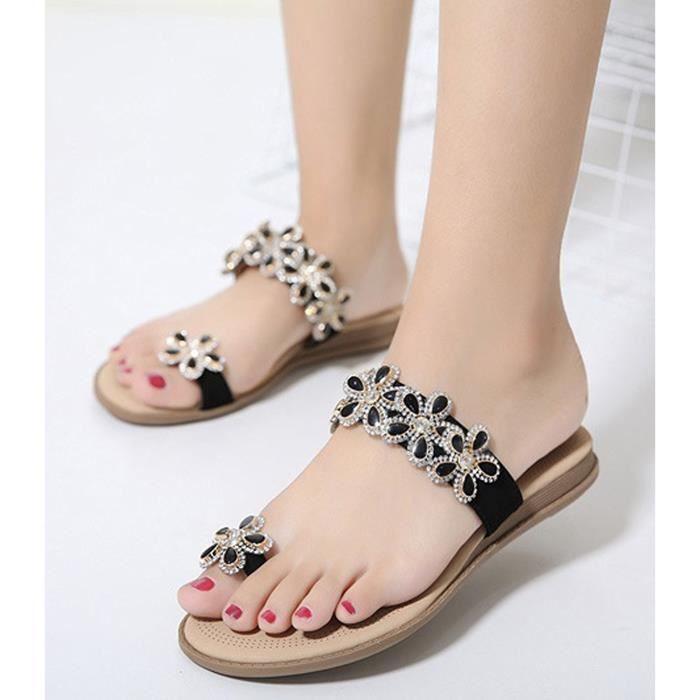 Minetom Femme Sandales Rhinestone Tongs Compensées Fille Bohémien Style Chaussures de Plage d'été Slippers BkNkPL