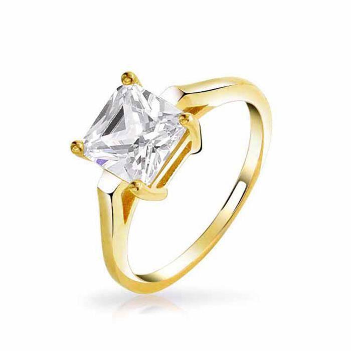 Bling Jewelry Argent 925 plaqué or Princess Cut CZ bague de fiançailles Solitaire 2ct