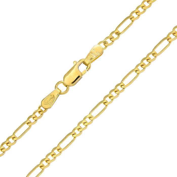 Revoni - Bracelet à chaîne Figaro en or jaune 9 carat 1,6 g, longueur 19 cm et largeur 2,3 mm.