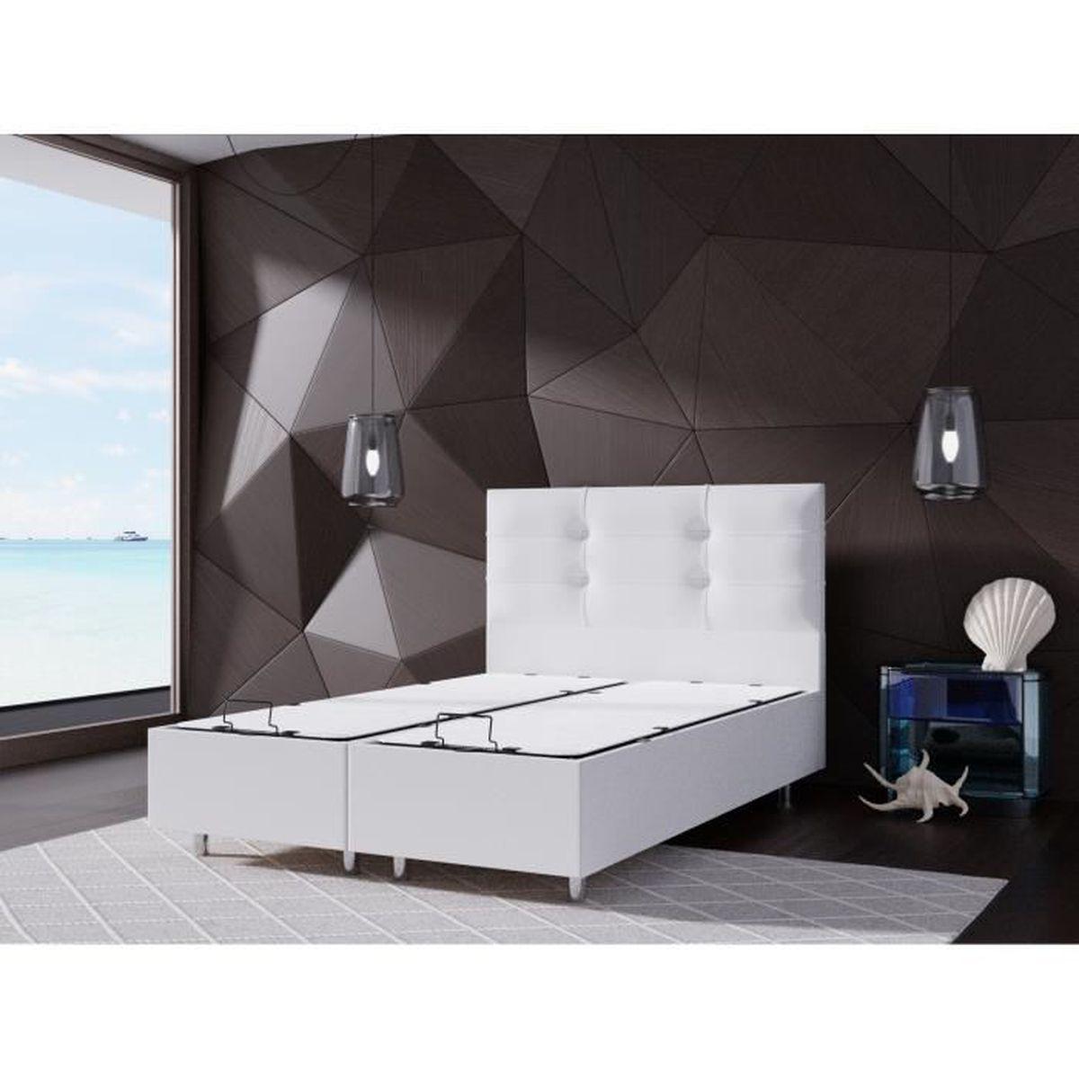 lit coffre 140x190 + tete de lit blanc - achat / vente structure de