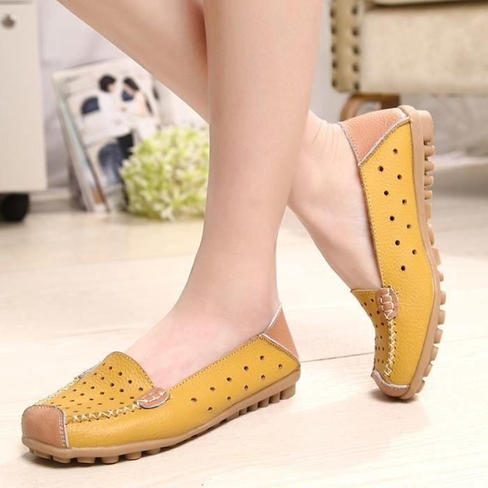 De nouvelles femmes d'origine Chaussures en cuir Slip-on femme Flats Confort Chaussures Femme Printemps Eté Mocassins Chaussures ntlV0jGS